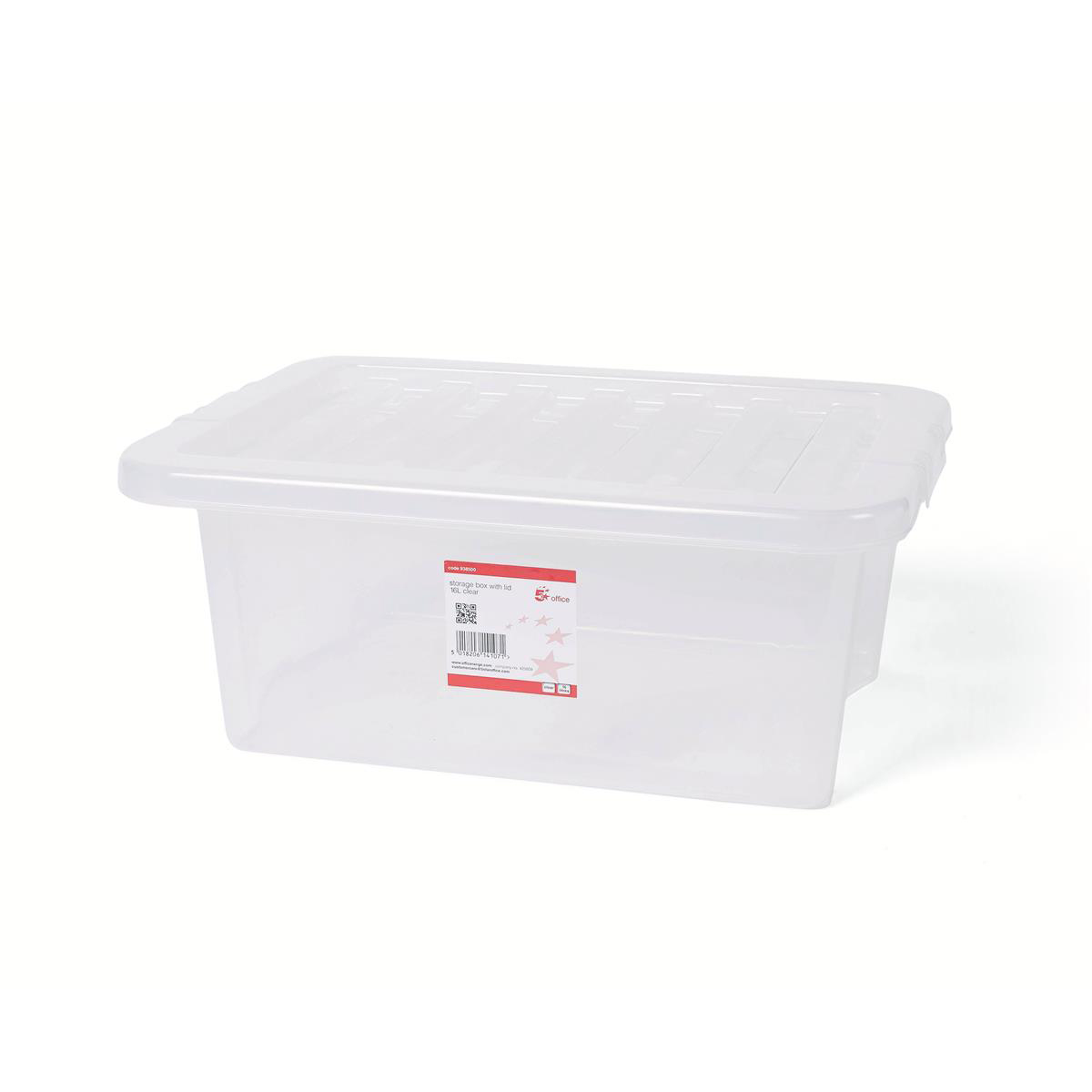 Storage Boxes 5 Star Office Storage Box Plastic with Lid Stackable 16 Litre Clear