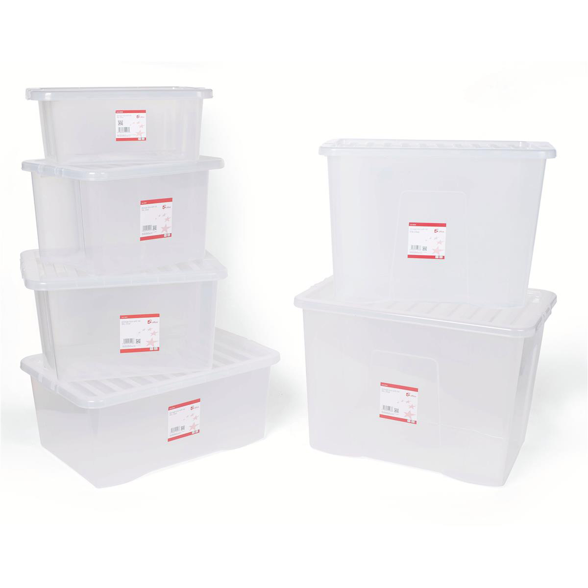 5 Star Office Storage Box Plastic with Lid Stackable 16 Litre Clear