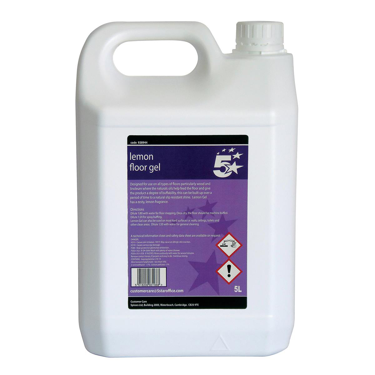 Cleaning Chemicals 5 Star Facilities Lemon Floor Gel 5 Litres
