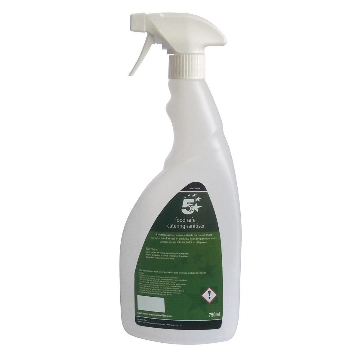 5 Star Facilities Pre-labelled Empty Bottle for Concentrated Catering Sanitiser Capacity = 750ml