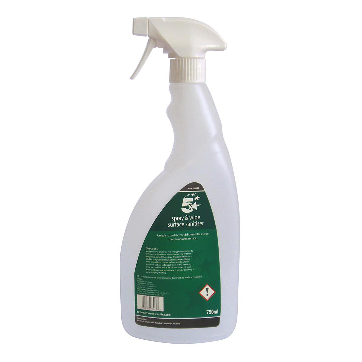 5 Star Facilities Pre-labelled Empty Bottle for Concentrated Surface Sanitiser Capacity = 750ml