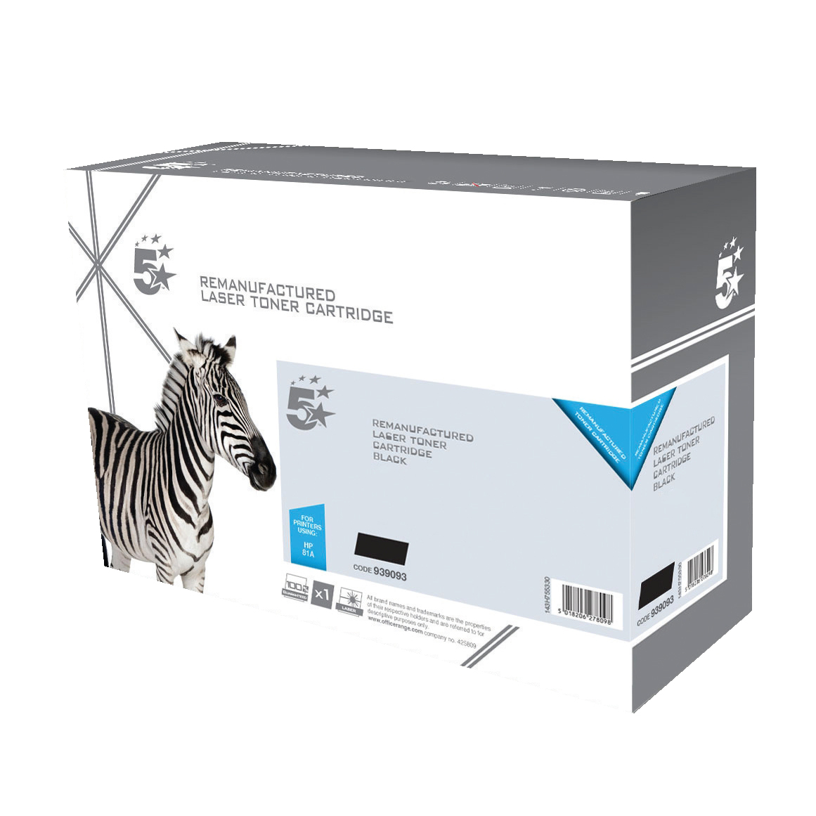 5 Star Office Remanufactured Laser Toner Cartridge HY Page Life 10500pp Black [HP CF281A Alternative]