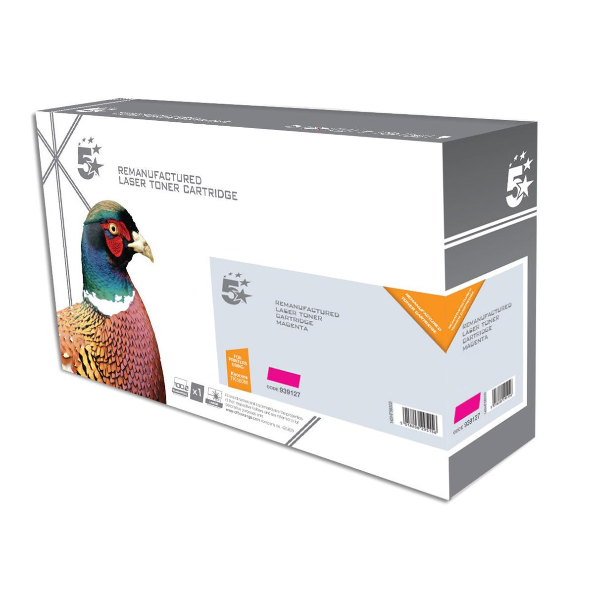 5 Star Office Reman Laser Toner Cartridge Page Life 2800pp Magenta [Kyocera 1T02KTBNL0 Alternative]
