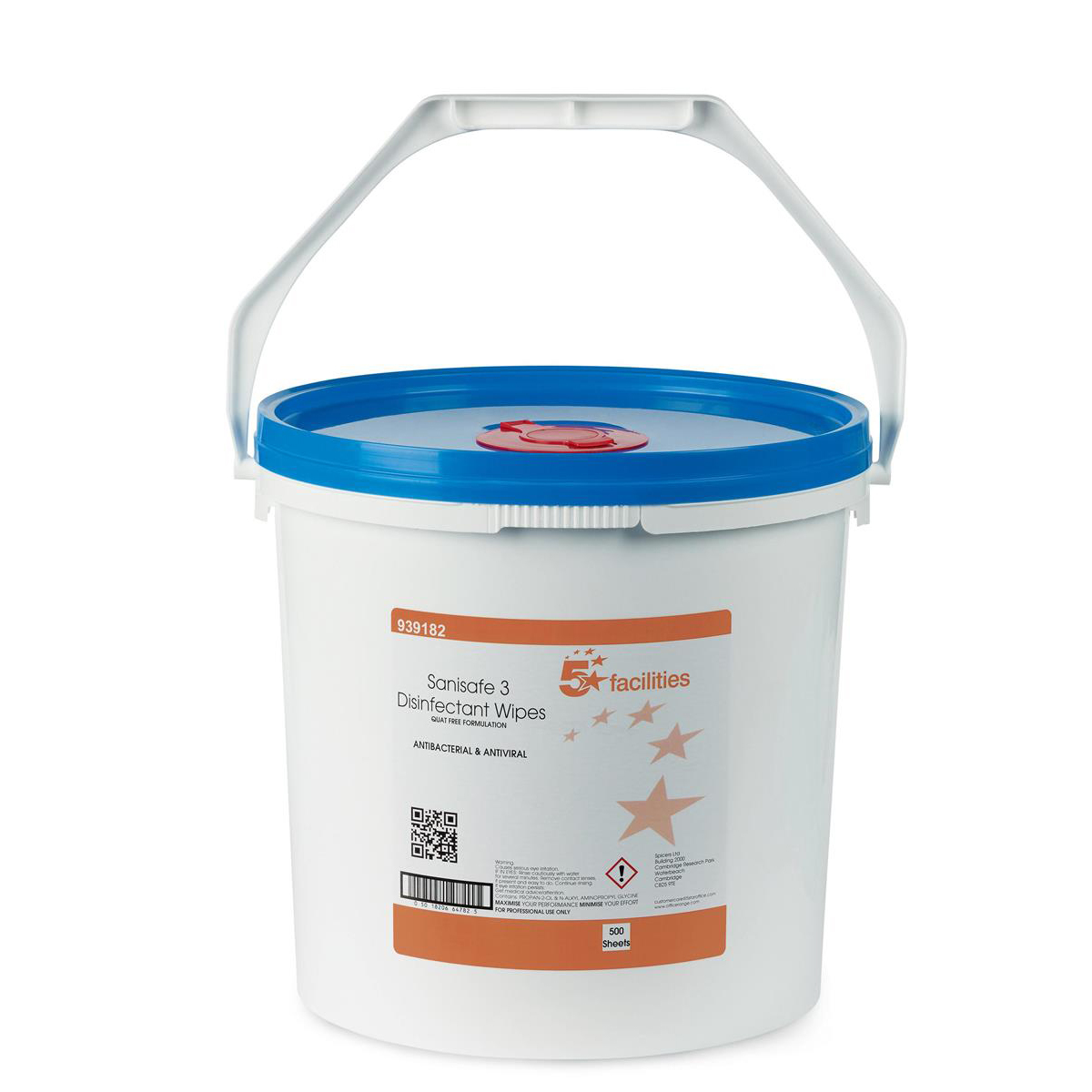 5 Star Facilities Disinfectant Wipes Anti-bacterial PHMB-free BPR Low-residue 20x23cm Bucket 500 Sheets