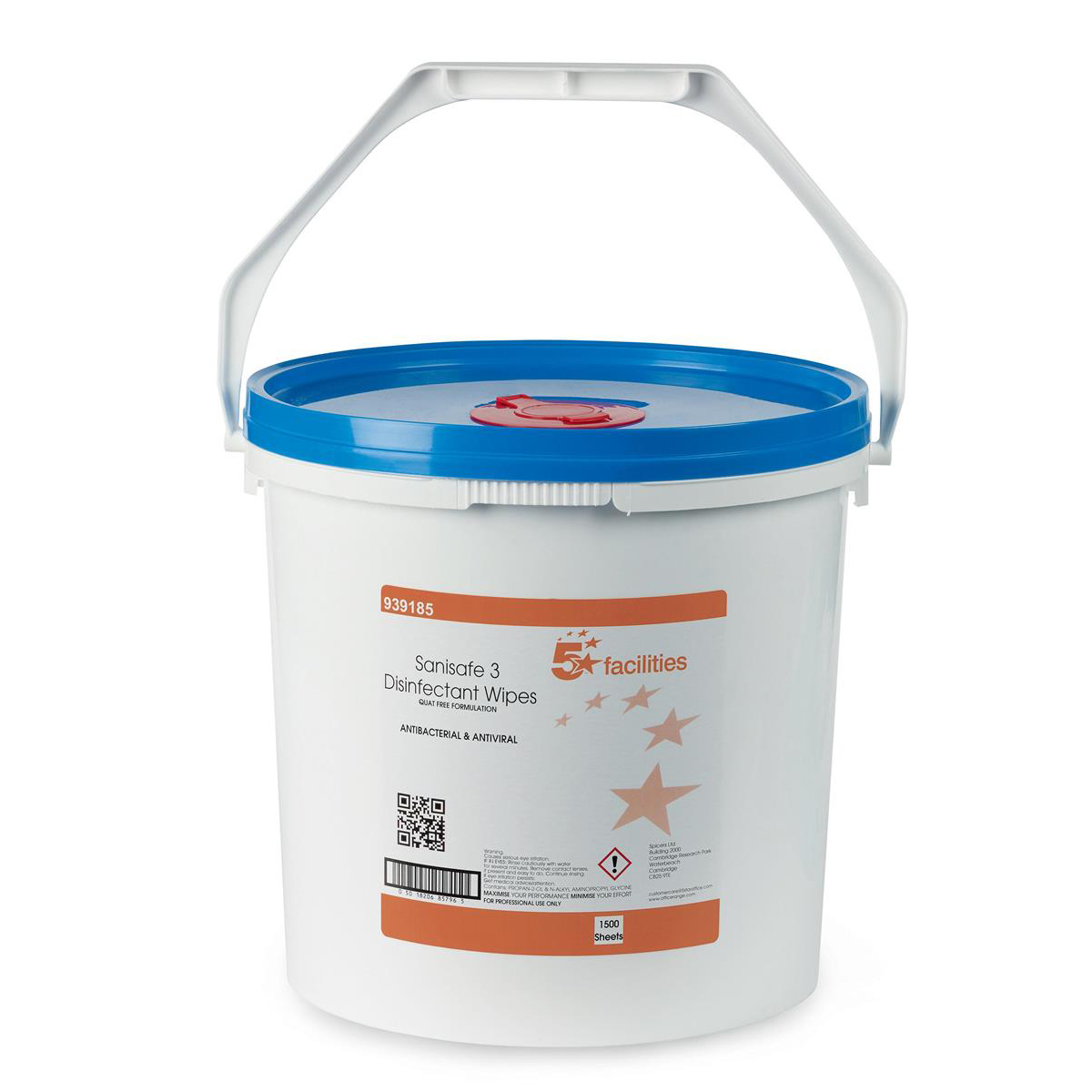 5 Star Facilities Disinfectant Wipes Anti-bacterial PHMB-free BPR Low-residue 190x200mm 1500 Wipes