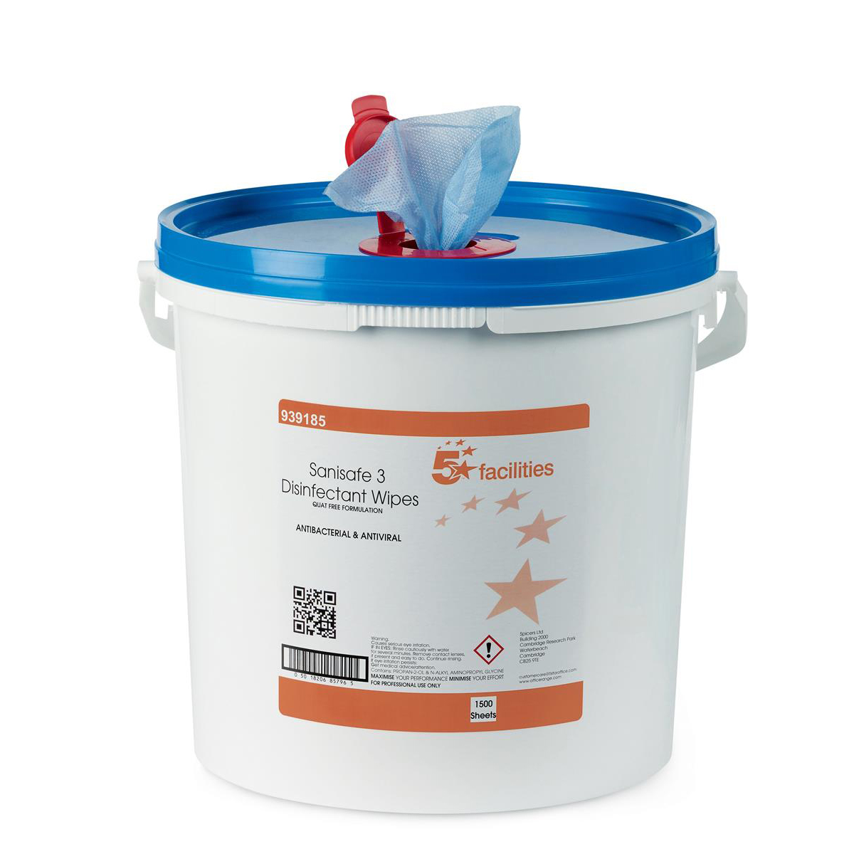 5 Star Facilities Disinfectant Wipes Anti-bacterial PHMB-free BPR Low-residue 19x20cm Tub 1500 Sheets