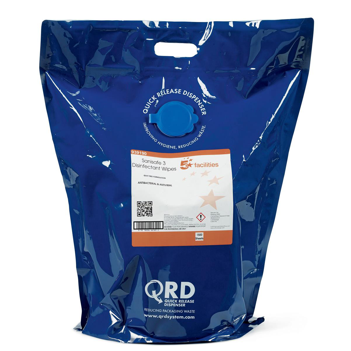 Cleaning Chemicals 5 Star Facilities Disinfectant Wipes Anti-bacterial PHMB-free BPR Low-residue 190x200mm 1500 Wipes