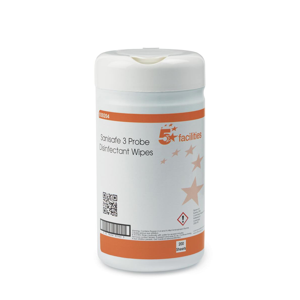 5 Star Facilities Probe Disinfectant Wipes Anti-bac PHMB-free BPR Low-residue 13x13cm Tub 200 Sheets