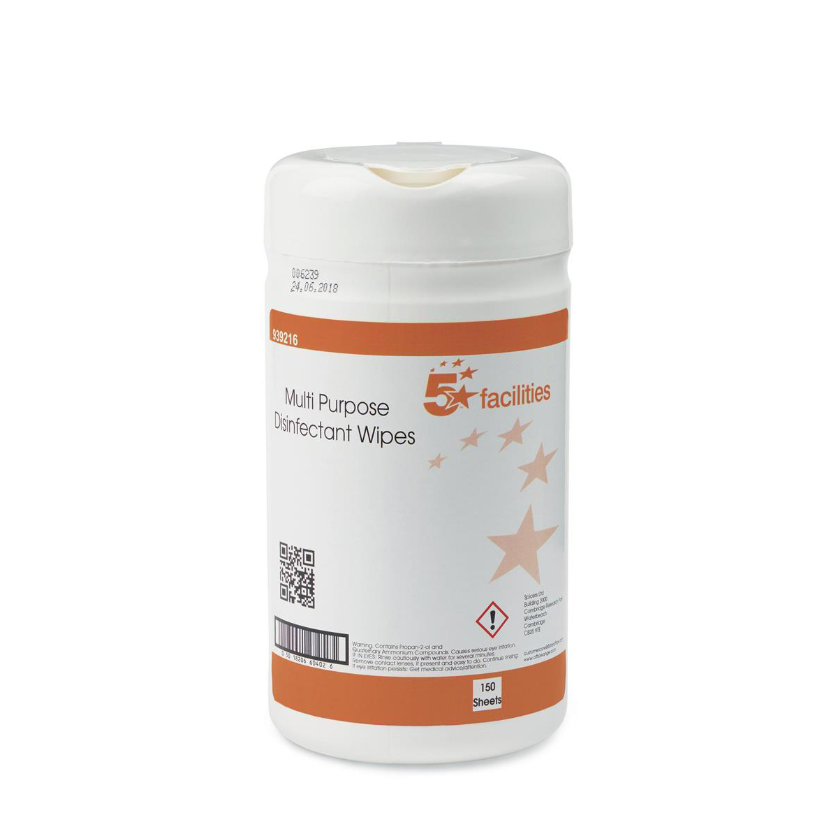 5 Star Facilities Multipurpose Disinfectant Wipes Anti-bacterial 23gsm 13x13cm Tub 150 Sheets