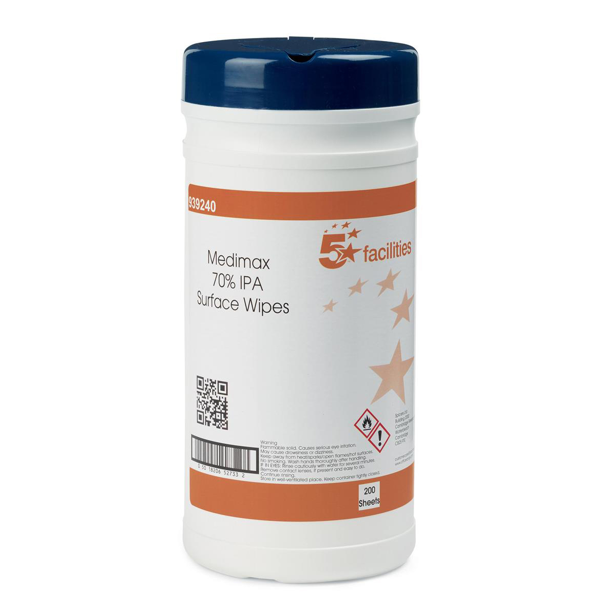 5 Star Facilities Medimax 70 % IPA Surface Disinfectant Wipes Anti-bacterial 20x20cm Tub 200 Sheets