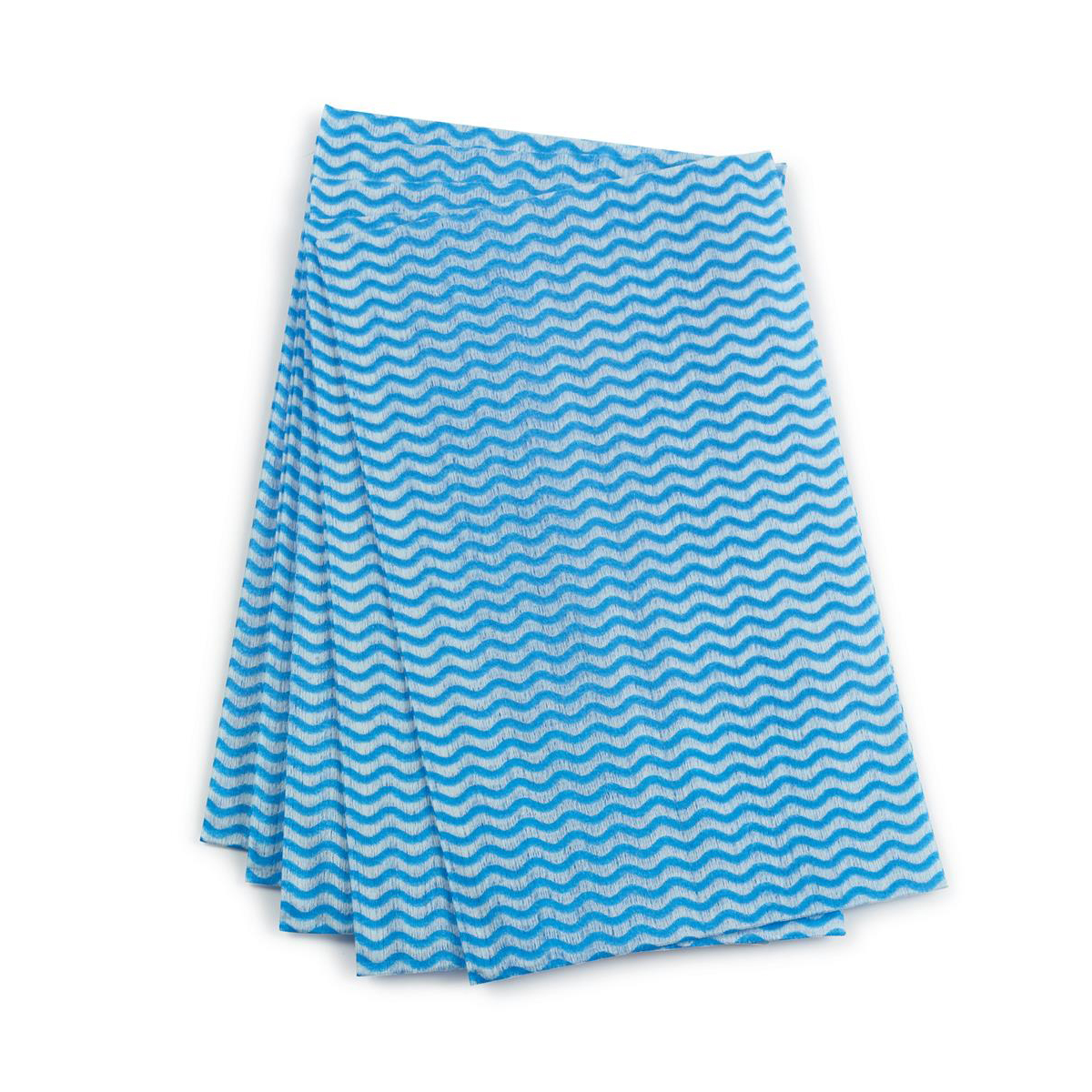 5 Star Facilities Cleaning Cloths Anti-microbial 40gsm W500xL300mm Wavy Line Blue [Pack 50]