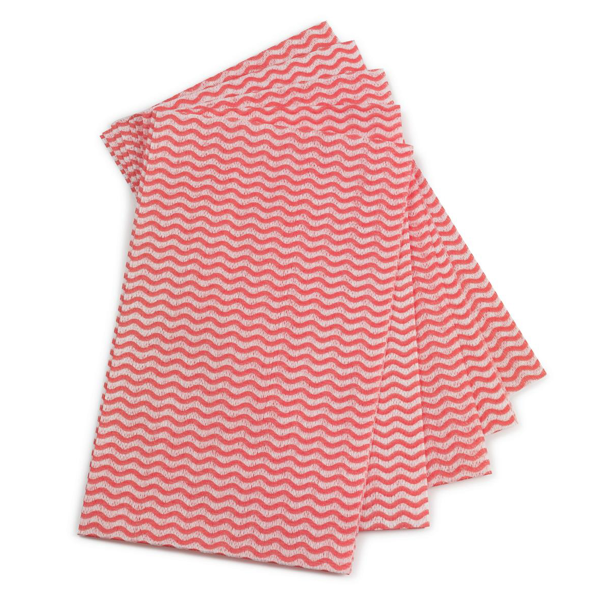 5 Star Facilities Cleaning Cloths Anti-microbial 40gsm W500xL300mm Wavy Line Red Pack 50