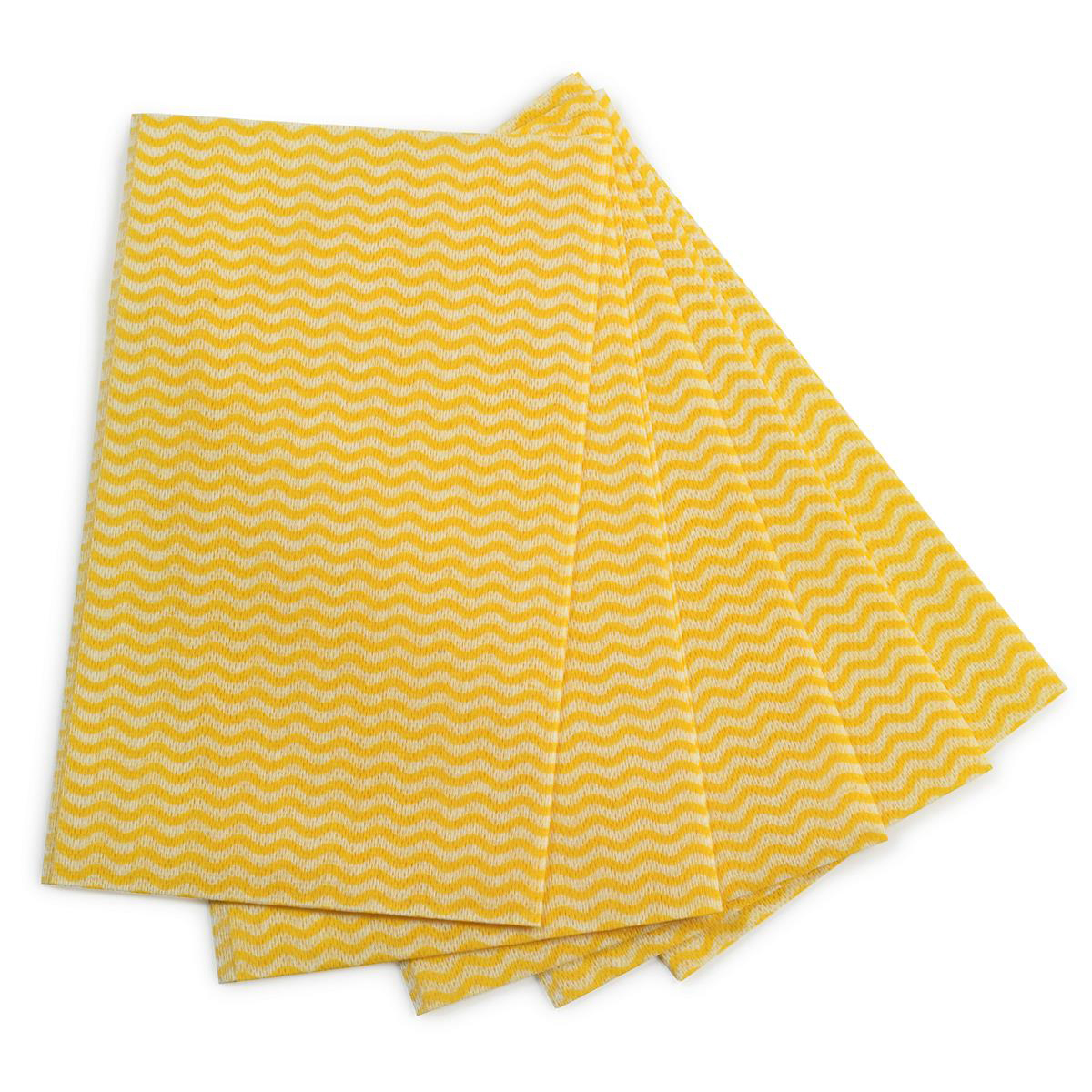 5 Star Facilities Cleaning Cloths Anti-microbial 40gsm W500xL300mm Wavy Line Yellow Pack 50
