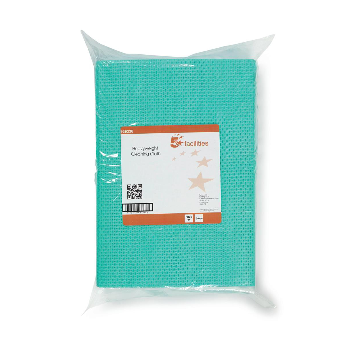 Cleaning Chemicals 5 Star Facilities Cleaning Cloths Anti-microbial Heavy-duty 76gsm W500xL300mm Green Pack 25