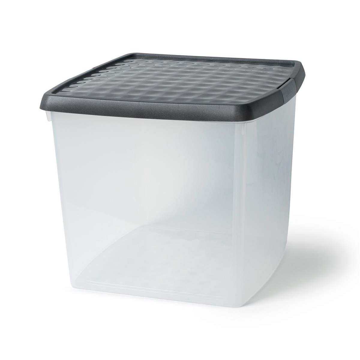 5 Star Elite Storage Clip Box Plastic Stackable with Lid 37 Litre Clear