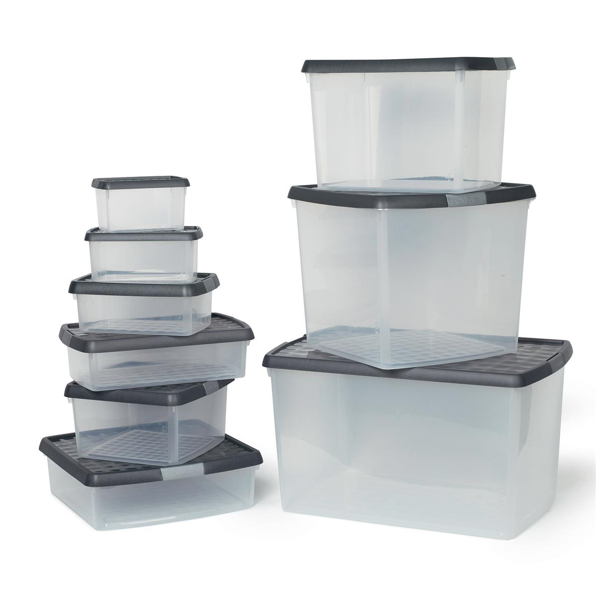 Image for 5 Star Elite Storage Clip Box Plastic Stackable with Lid 37 Litre Clear