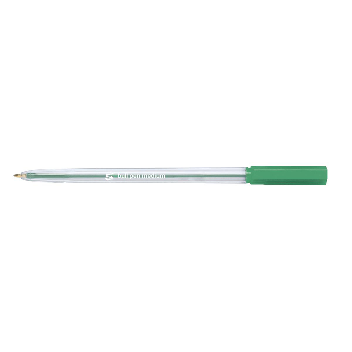 5 Star Office Ball Pen Clear Barrel Medium 1.0mm Tip 0.7mm Line Green Pack 20