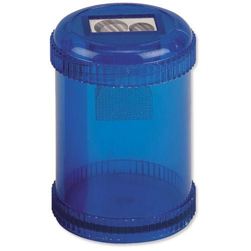 Sharpeners 5 Star Office Pencil Sharpener Plastic Canister Two Hole Max. Diameter 8/11mm Blue Pack 10