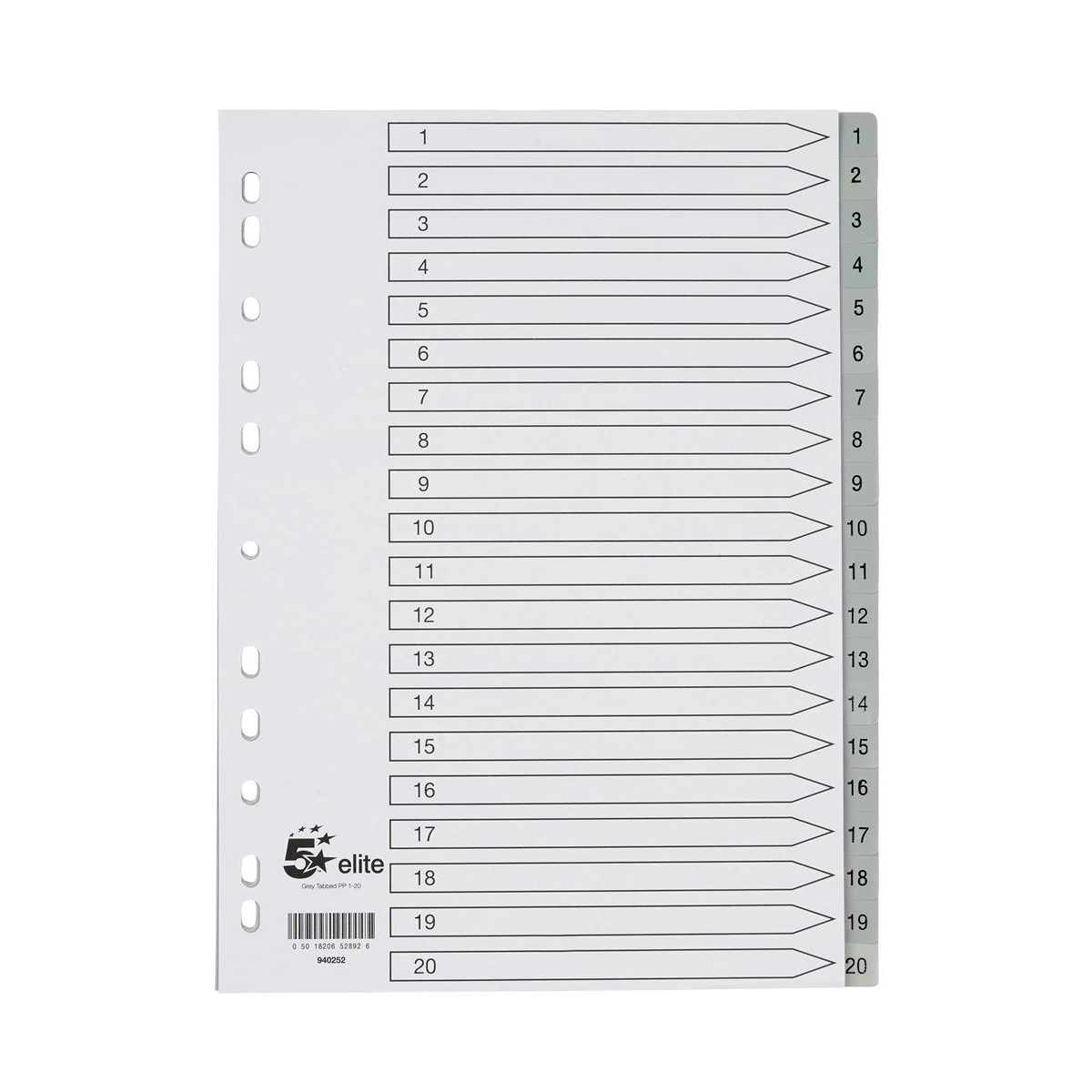 5 Star Elite Index 1-20 Polypropylene Multipunched Reinforced Holes Grey Tabs 120 Micron A4 White