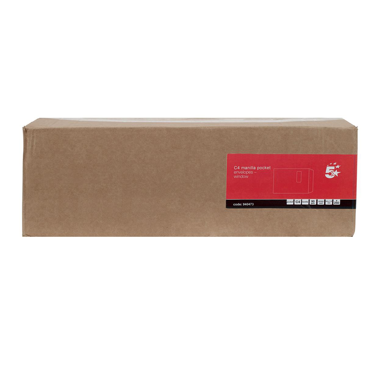 5 Star Office Envelopes PEFC Pocket Self Seal Window 90gsm C4 324x229mm Manilla Pack 250