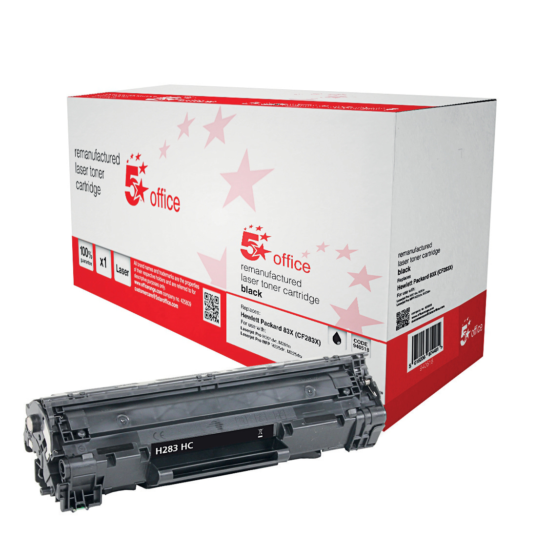 5 Star Office Remanufactured Laser Toner Cart HY Page Life 2200pp Black [HP 83X CF283X HY Alternative]