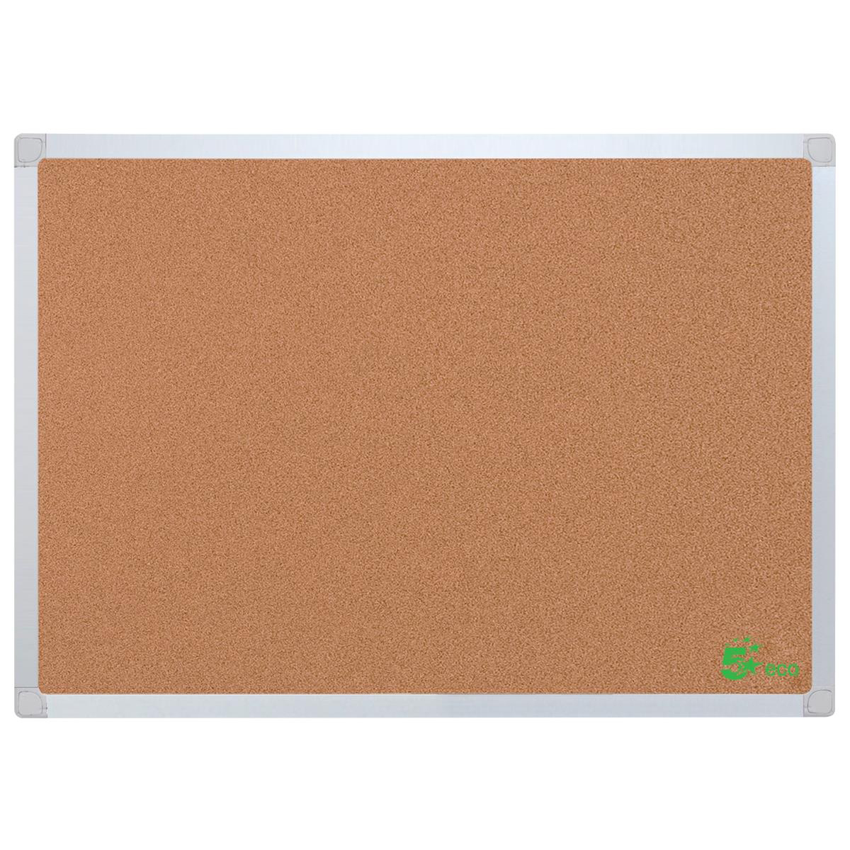Cork 5 Star Office Cork Board with Wall Fixing Kit Aluminium Frame W1200xH900mm