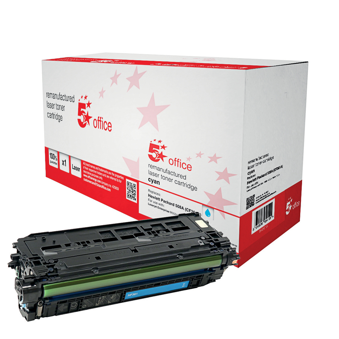 5 Star Office Remanufactured Laser Toner Cartridge Page Life 5000pp Cyan [HP 508A CF361A Alternative]