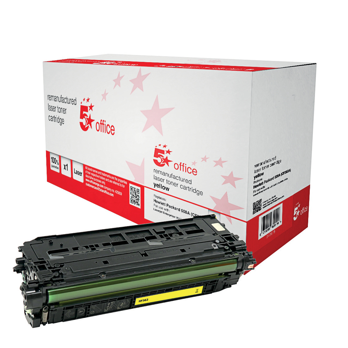 5 Star Office Remanufactured Laser Toner Cartridge Page Life 5000pp Yellow [HP 508A CF362A Alternative]