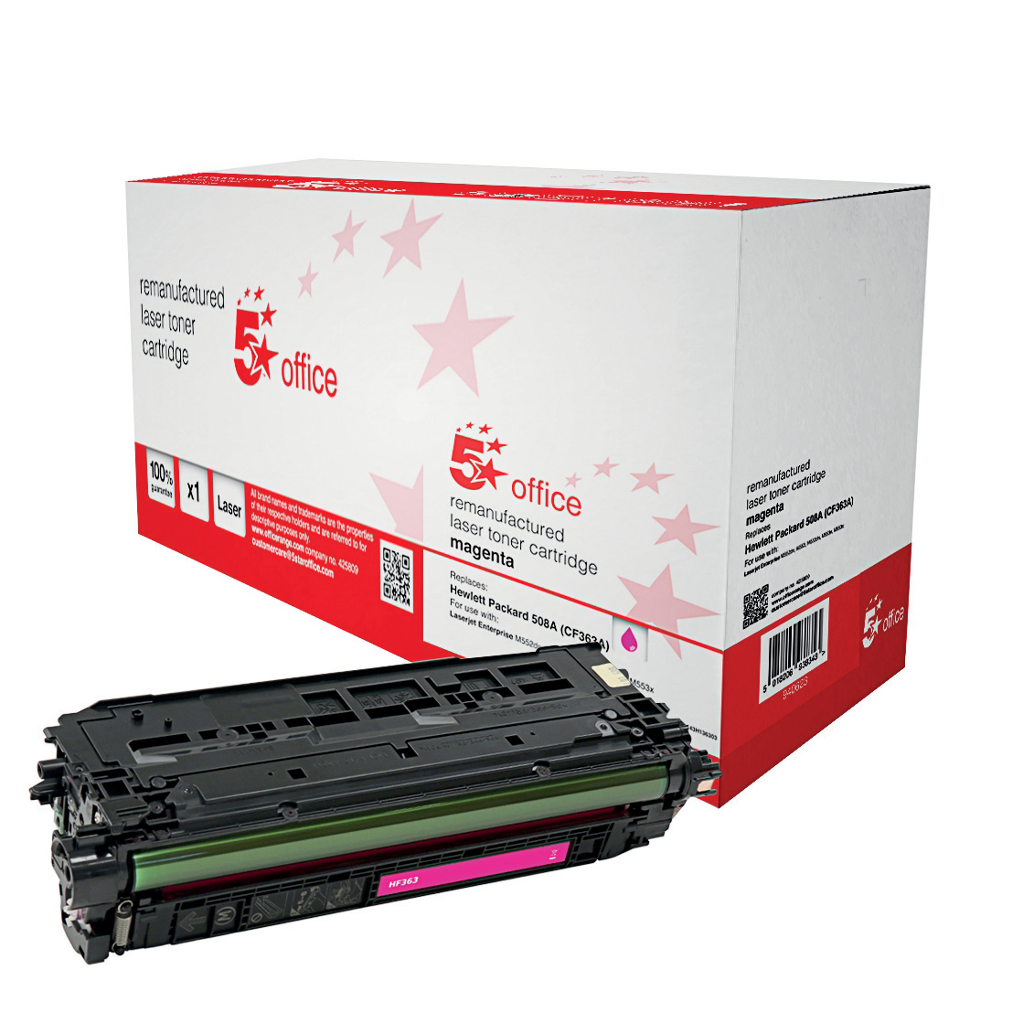 5 Star Office Remanufactured Laser Toner Cartridge Page Life 5000pp Magenta [HP 508A CF363A Alternative]
