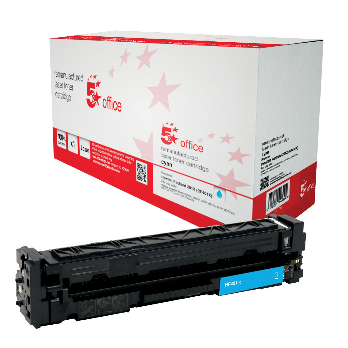 Laser Toner Cartridges 5 Star Office Remanufactured Laser Toner Cartridge Page Life 2300pp Cyan HP 201X CF401X Alternative