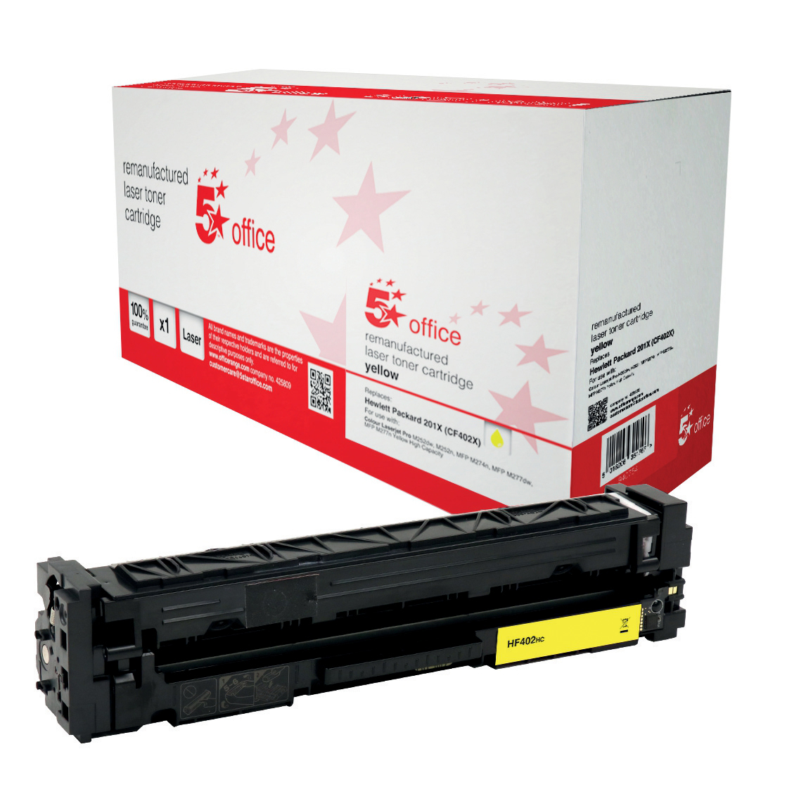 Laser Toner Cartridges 5 Star Office Remanufactured Laser Toner Cart Page Life 2300pp HY Yellow HP 201X CF402X Alternative