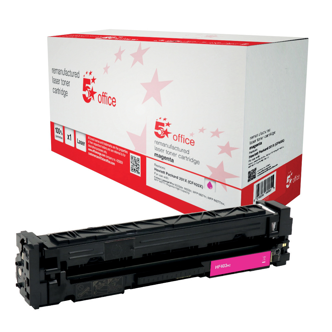 Laser Toner Cartridges 5 Star Office Remanufactured Laser TonerCartridge HY Page Life 2300ppMagenta HP 201X CF403X Alternative