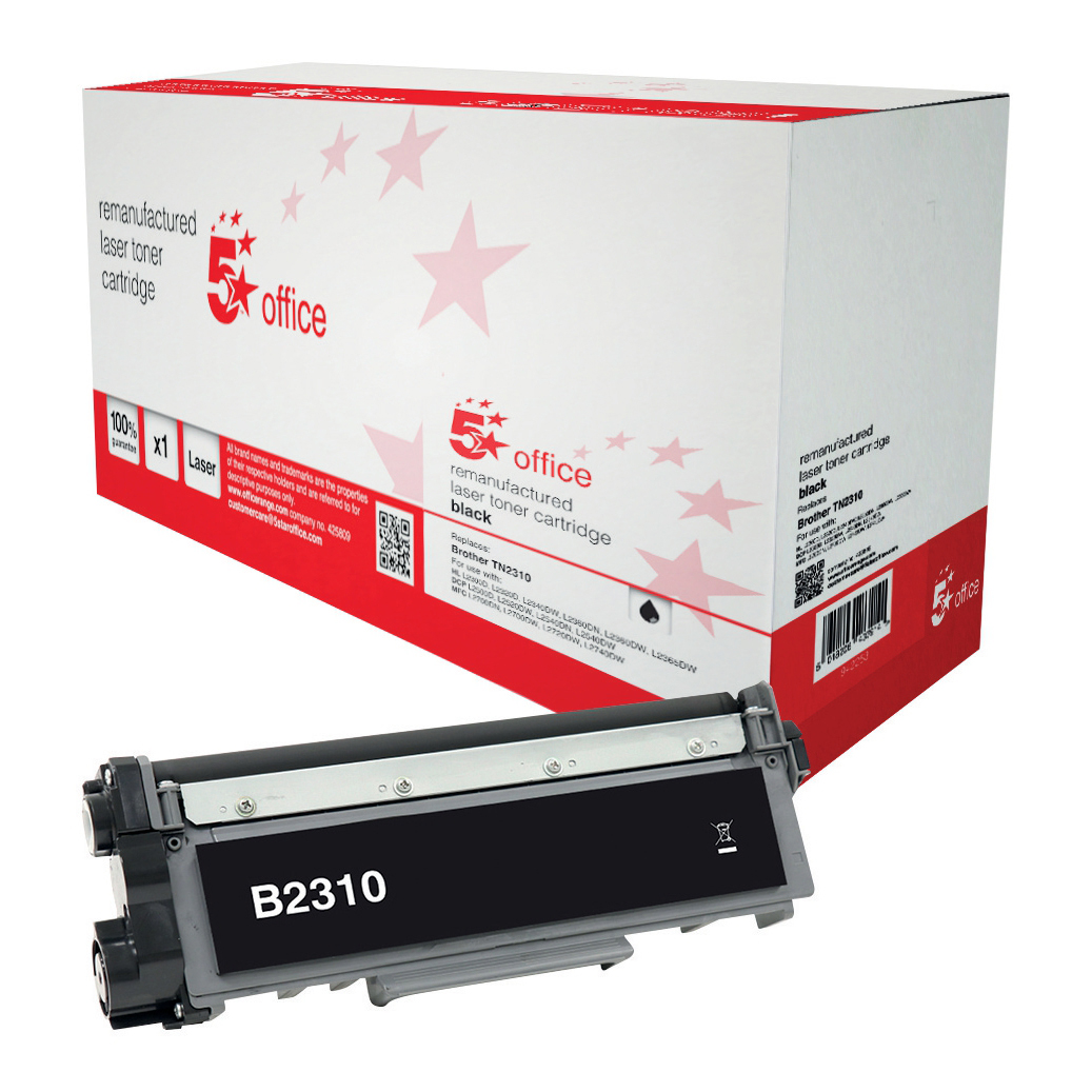 5 Star Office Remanufactured Laser Toner Cartridge Page Life 1200pp Black [Brother TN2310 Alternative]