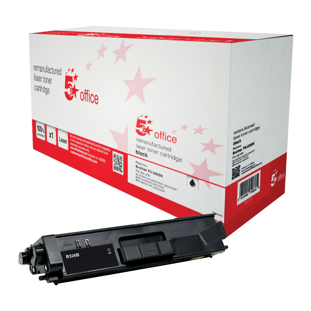 5 Star Office Reman Laser Toner Cartridge HY Page Life 4000pp Black [Brother TN326BK Alternative]