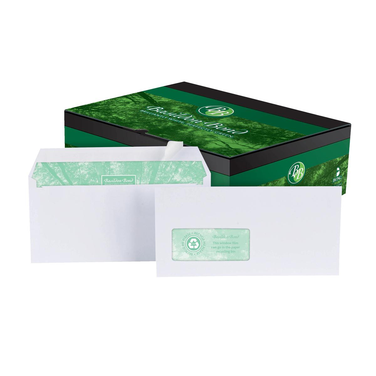 Basildon Bond Envelopes Recycled Wallet P&S Window 120gsm DL White Ref A80117 Pack 500