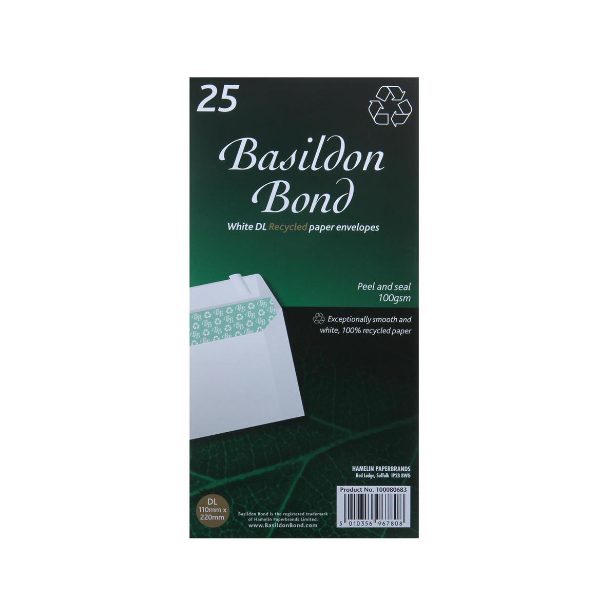 Basildon Bond Envelopes Recycled Wallet Peel and Seal Window 120gsm DL White Ref A80117 Pack 500