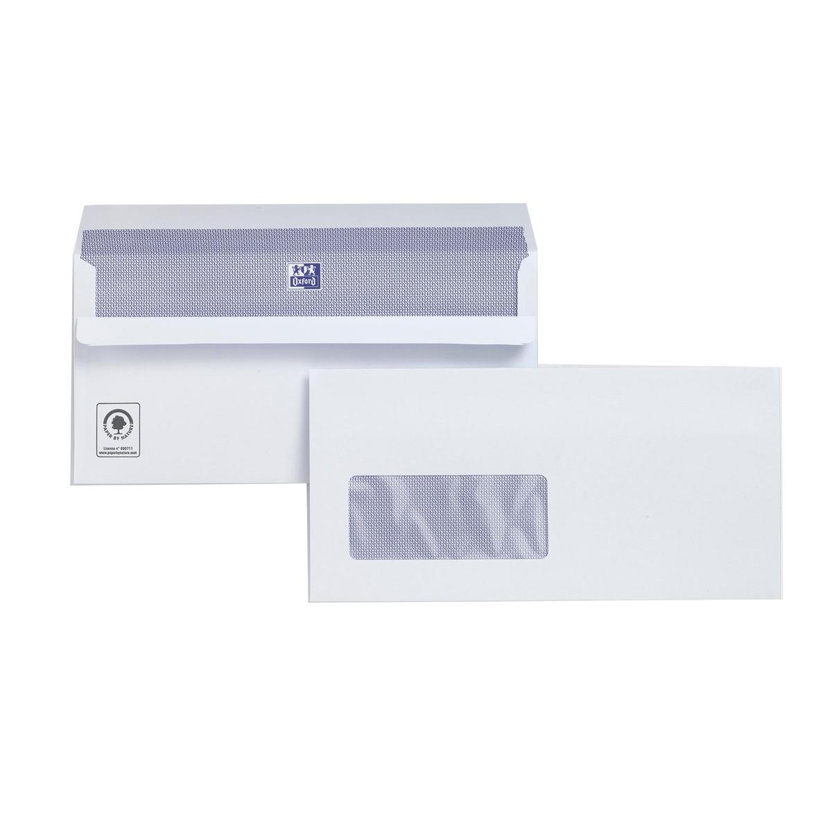 Plus Fabric Envelopes PEFC Wallet Self Seal Window 120gsm DL 220x110mm White Ref C22570 Pack 500