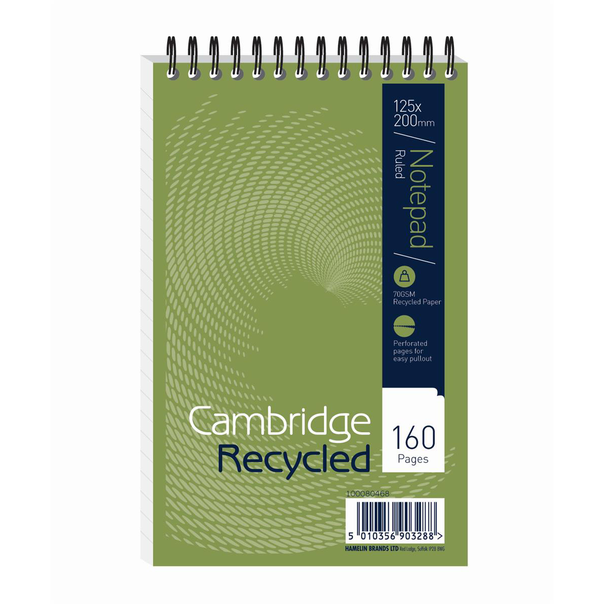 Cambridge Recycled Reporters Notebook 70gsm Ruled and Perforated 160pp 125x200mm Ref 100080468 Pack 10