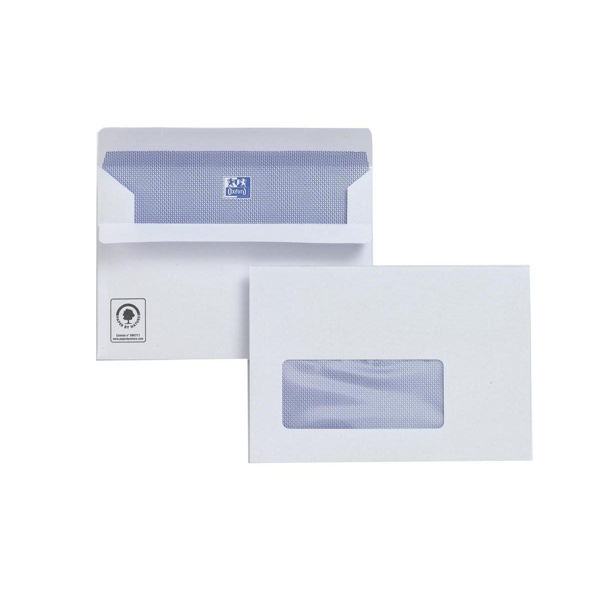 Plus Fabric Envelopes PEFC Wallet Self Seal Window 120gsm C6 114x162mm White Ref F22670 Pack 500