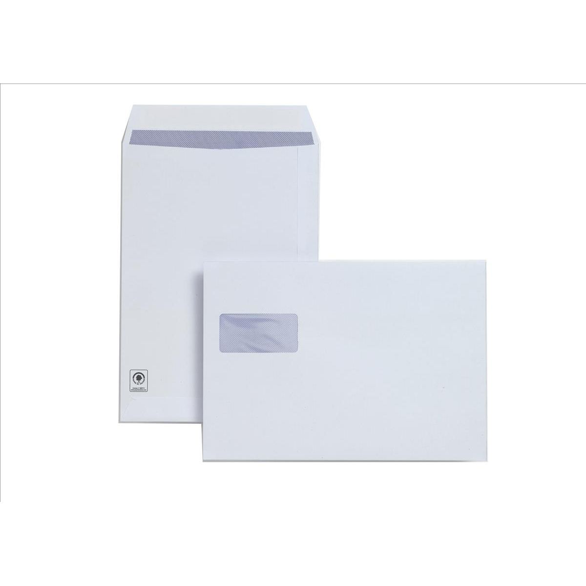 Plus Fabric Envelopes PEFC Pocket Peel & Seal Hrzntal Wdw 120gsm C4 324x229mm White Ref F28749 Pack 250