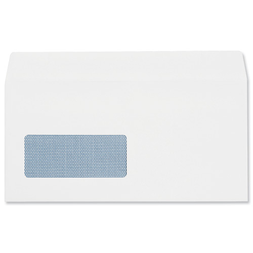 Plus Fabric Envelopes PEFC Wallet Self Seal Window 120gsm DL 220x110mm White Ref J22370 Pack 500