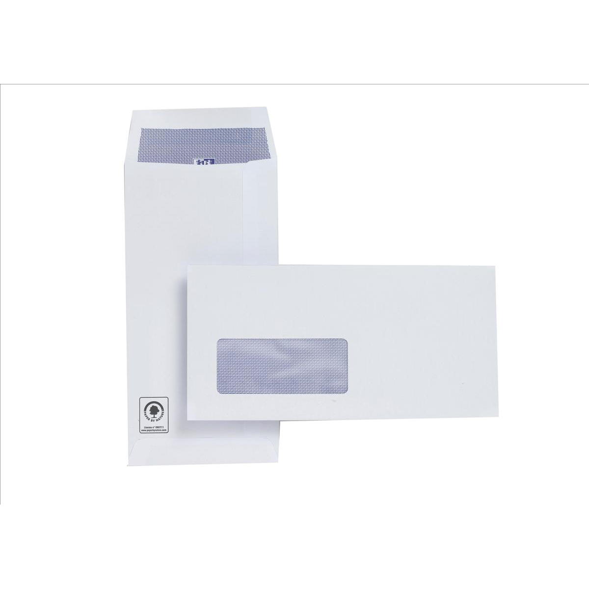 Plus Fabric Envelopes PEFC Pocket Self Seal Window 120gsm DL 220x110mm White Ref J26670 Pack 500