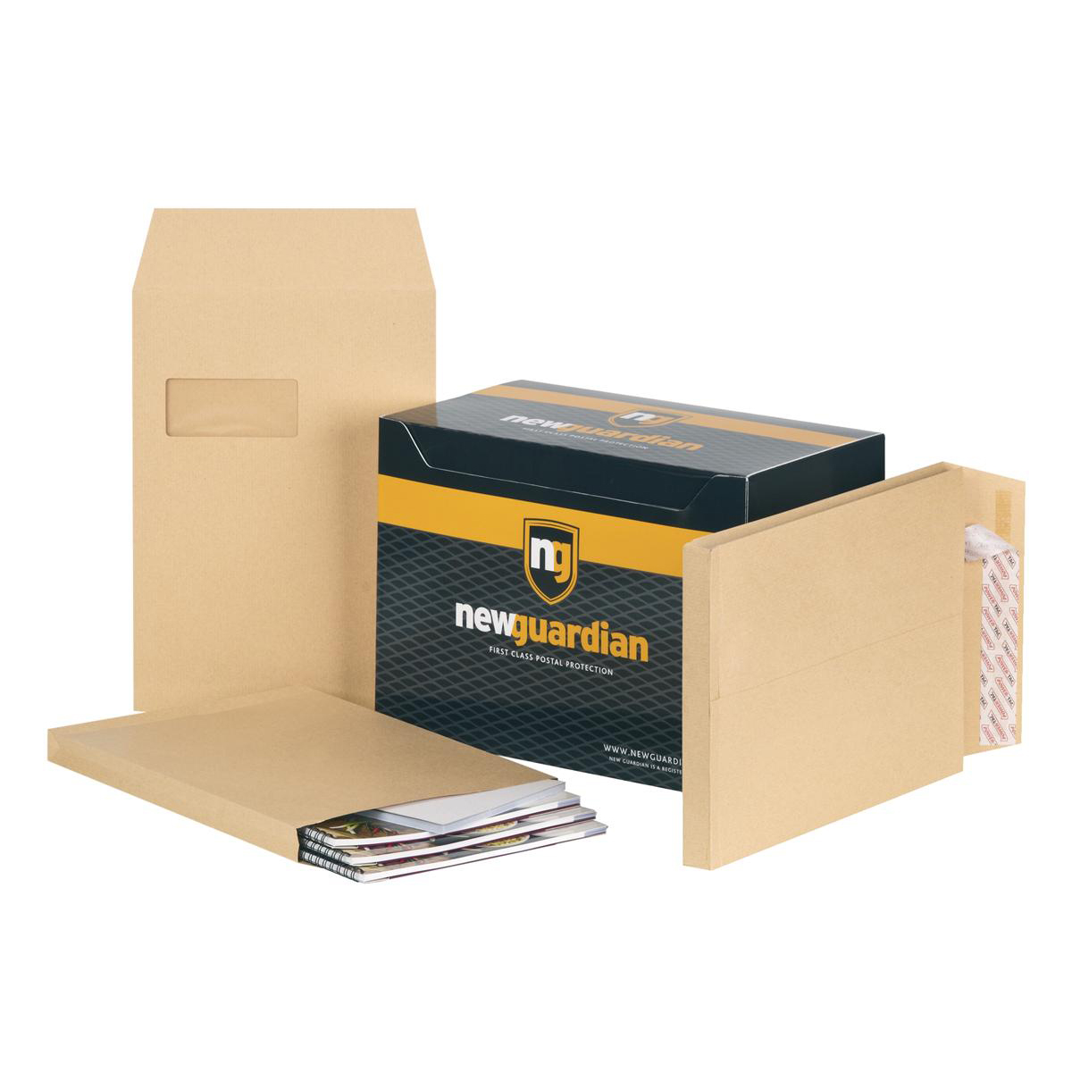 New Guardian Envelopes Peel and Seal Window Gusset 25mm 130gsm C4 Manilla Ref J27366 Pack 100