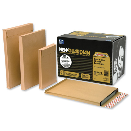 New Guardian Envelopes FSC Peel & Seal Window Gusset 130gsm C4 324x229x25mm Manilla Ref J27366 Pack 100