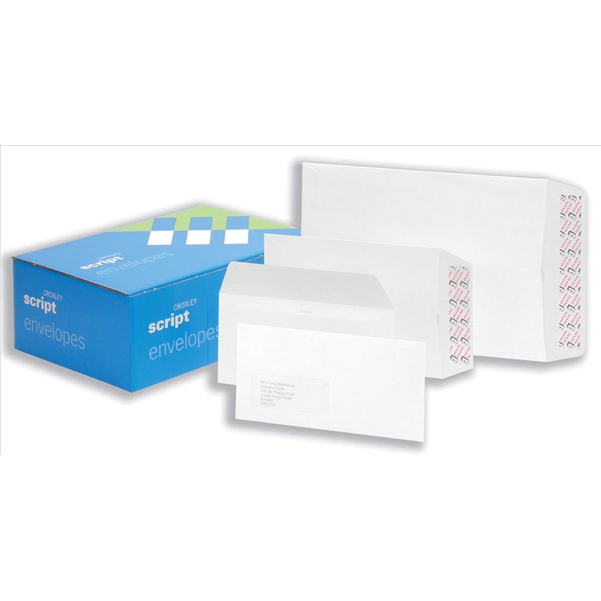 Croxley Script Envelopes Wallet Peel and Seal Window 100gsm DL 110x220mm White Ref K22412 Pack 500