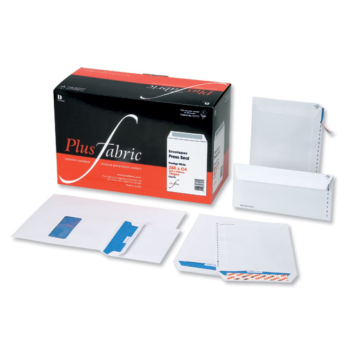 Plus Fabric Envelopes PEFC Pocket Peel & Seal Window 120gsm C4 324x229mm White Ref L23970 Pack 250