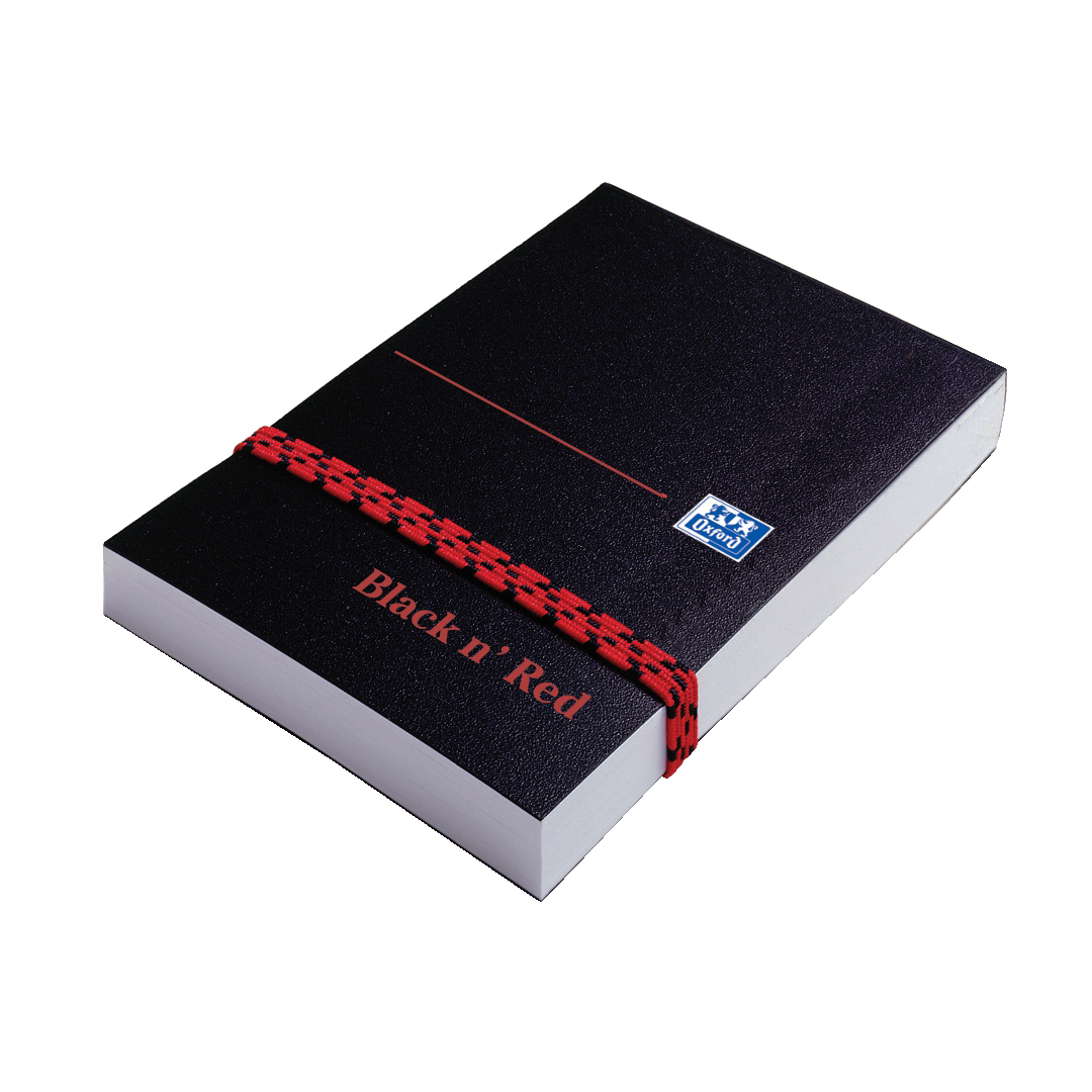 Notebooks Black n Red Notebook Poly Casebound 90gsm Plain 192pg A7 Ref 100080540 Pack 10