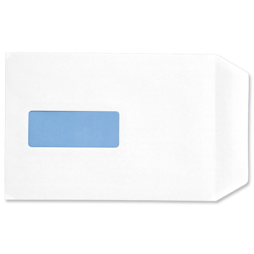 C5 5 Star Office Envelopes PEFC Pocket Self Seal Window 90gsm C5 229x162mm White Pack 500
