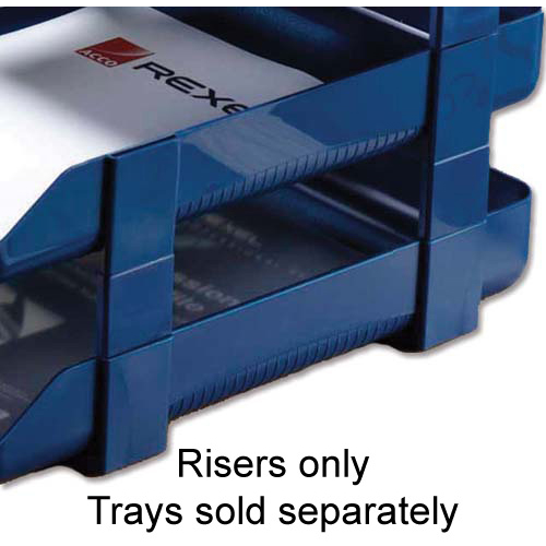Rexel Agenda Classic Risers Self-locking for Letter Trays 53mm Blue Ref 25225 Pack 5