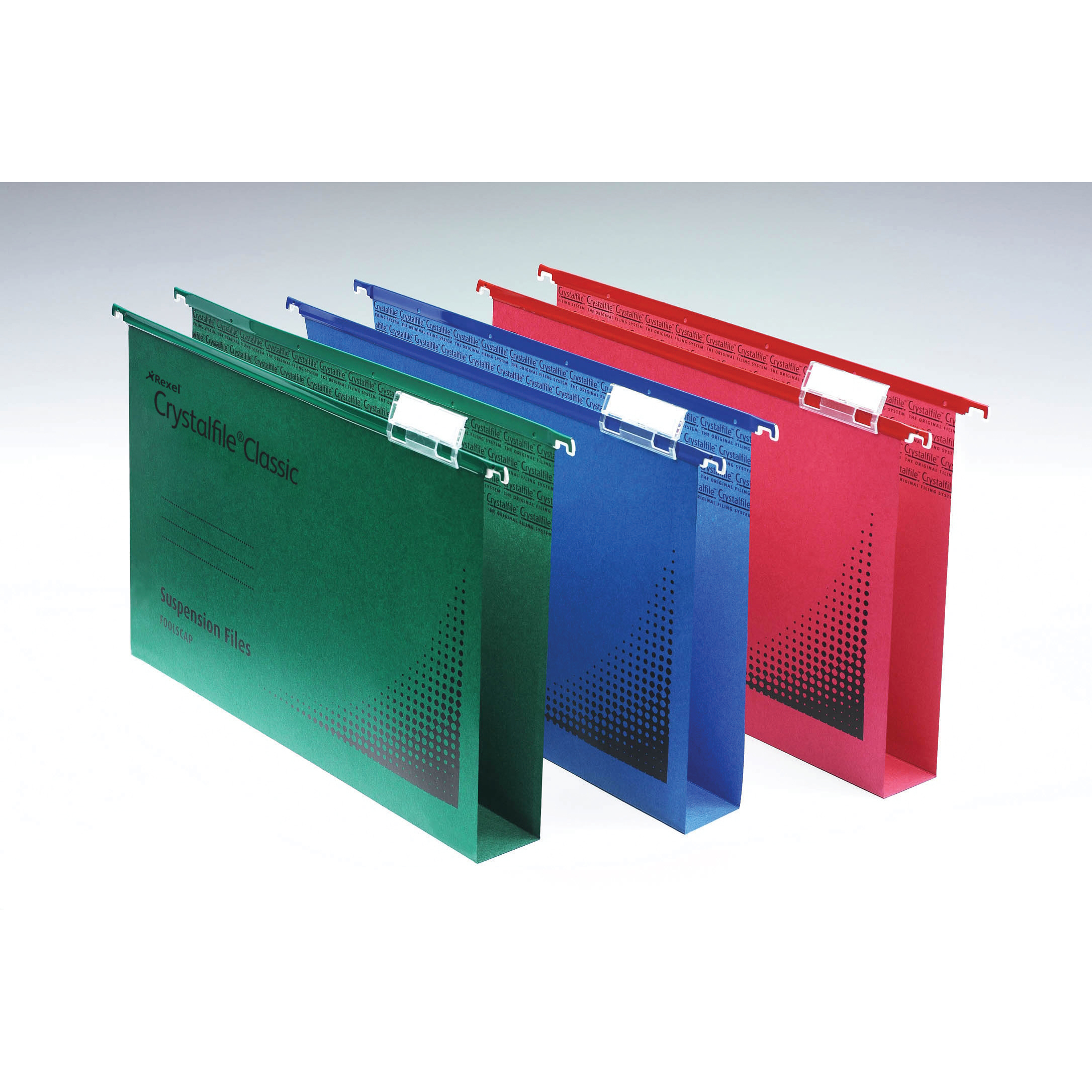 Rexel Crystalfile Classic Suspension File Manilla Wide-base 30mm 230gsm A4 Green Ref 70621 Pack 50